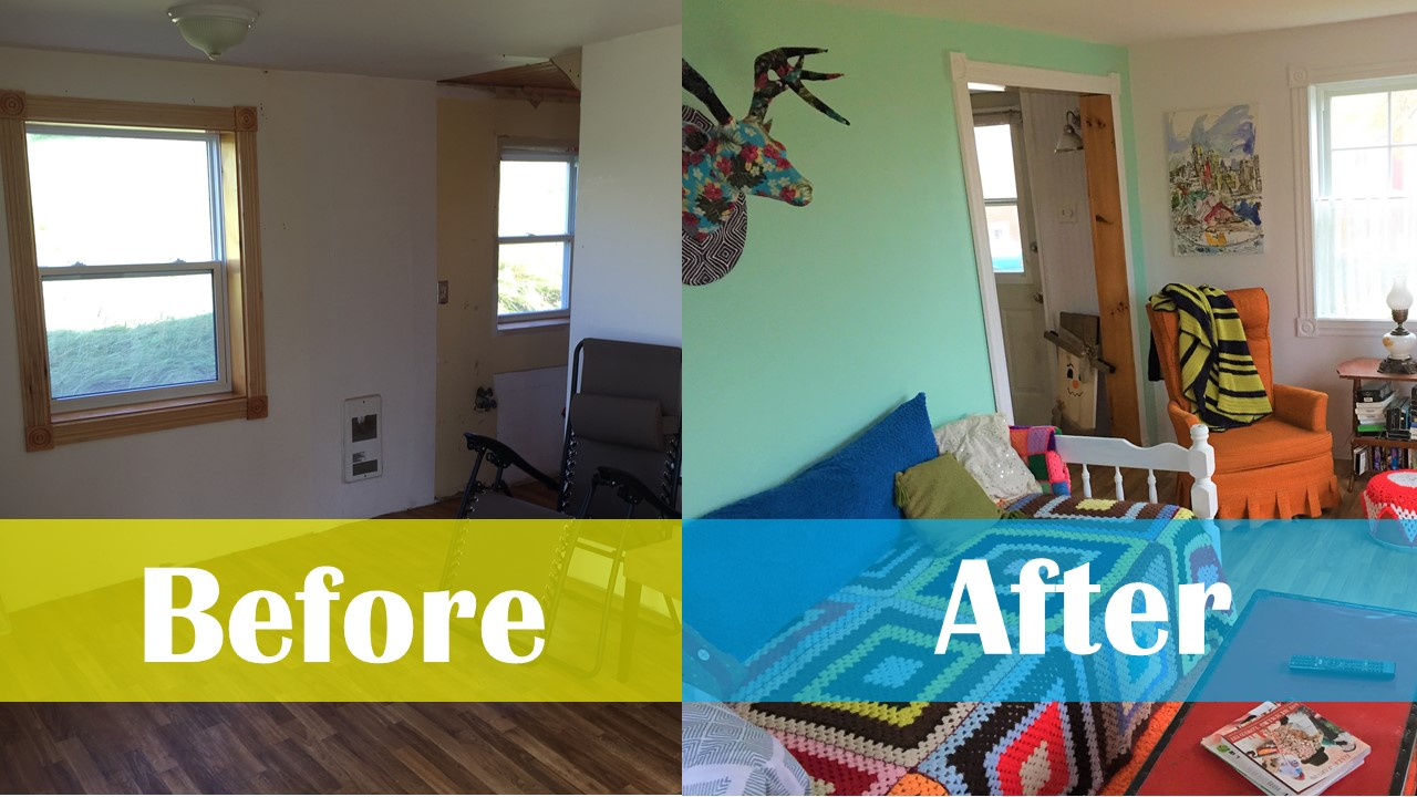 Haunted House Renovations - Before & After - Kitchen & Living Room
